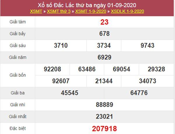Dự đoán XSDLK 8/9/2020 chốt KQXS ĐăkLắc thứ 3