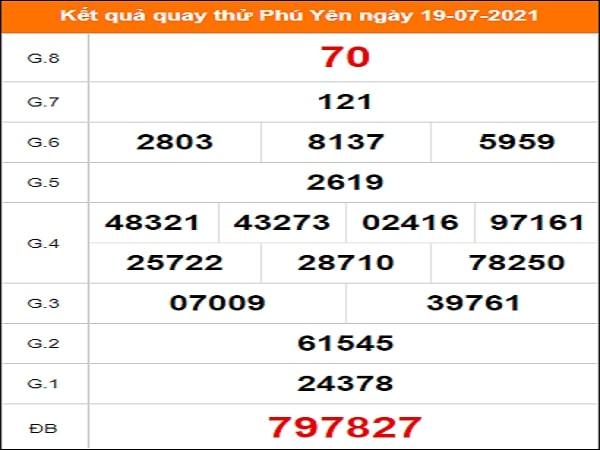 Quay thử xổ số Phú Yên ngày 19/7/2021